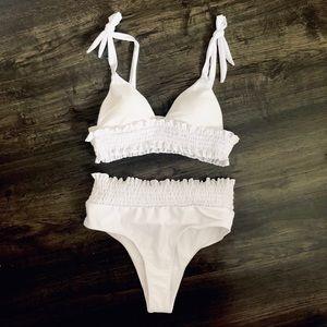 Other - White 2 piece high waisted bikini